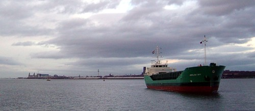 Arklow Sky arriving at the Victoria Group's Mersey Wharf