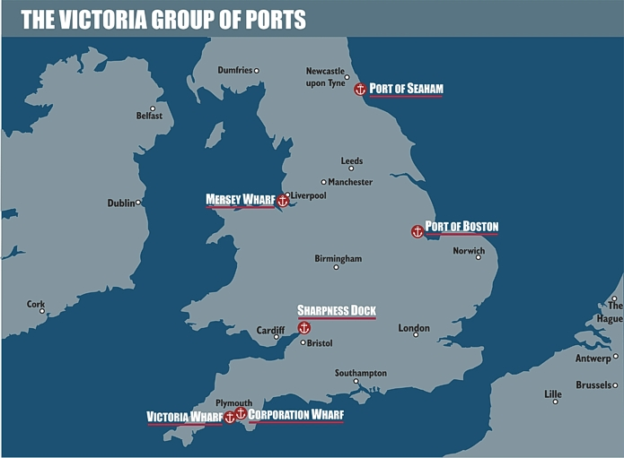 Map of the Victoria Group UK Port facilities