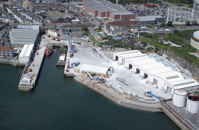 Aerial view of Victoria Wharf, part of the Victoria Group of ports