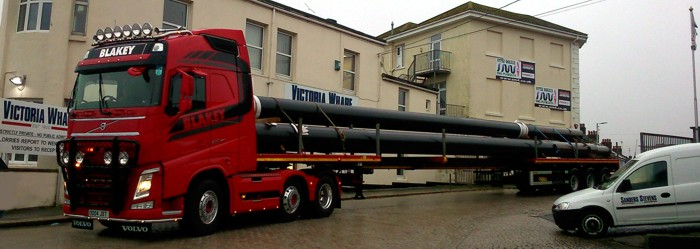 Pipes arriving at Victoria Wharf