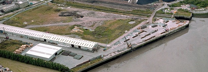 Aerial view of Mersey Wharf, part of the Victoria Group of ports