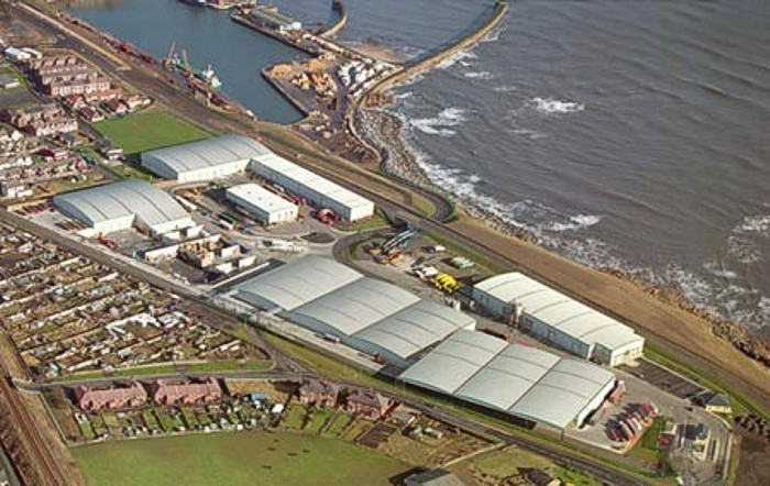 Aerial view of the Port of Seaham, part of the Victoria Group of ports